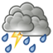 Showers and thunderstorms. High 18C. Winds WNW at 25 to 40 km/h. Chance of rain 90%.